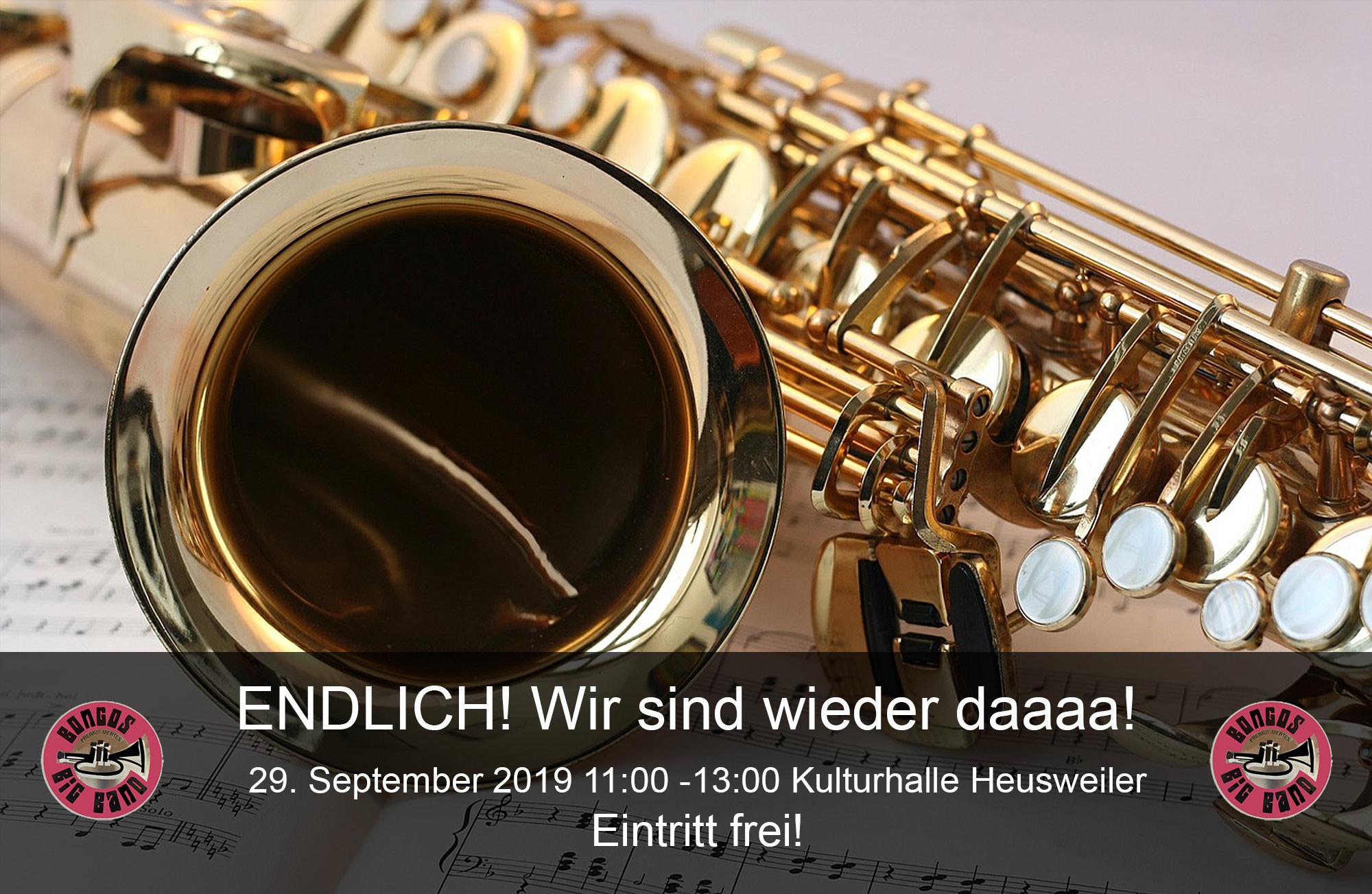 Bongos Bigband: 29. September 2019 ,Konzert in der Kulturhalle Heusweiler